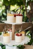 Wedding decoration, individual presentation of sweets and desserts stock photo