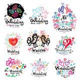 Wedding decoration logo handmade. Wedding Design illustration items and ornaments. Stock Photos