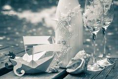 Wedding decoration in marine style. Royalty Free Stock Photo