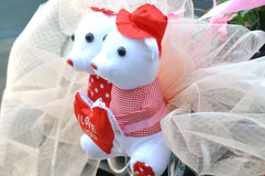 Wedding decoration mouse. Two small mouse doll marked with I love you, as wedding decoration on car Royalty Free Stock Images