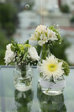 Wedding decoration with natural flowers centerpiece Stock Photos