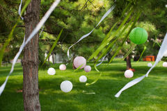 Wedding decoration. At an outdoor wedding party Royalty Free Stock Image