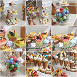 Wedding decoration with pastel colored cupcakes, meringues, muffins and macarons Stock Image