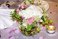 Wedding decoration with pink flowers  and pearls Stock Image