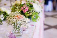 Wedding decoration with pink  roses Stock Images