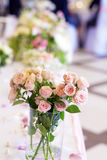 Wedding decoration with pink roses and pearls Royalty Free Stock Photography