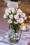 Wedding decoration with pink roses  and pearls Stock Image