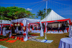 Wedding decoration of red ornge and white color scheme Stock Photo