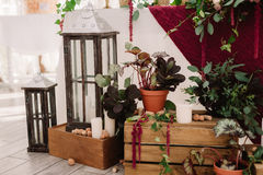 Wedding decoration of the restaurant in rustic style Stock Photo