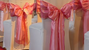Wedding decoration ribbons closeup stock video