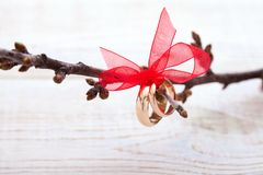 Wedding decoration rings with red ribbon royalty free stock photography