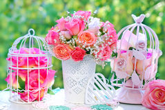 Wedding decoration with rose bouquet Stock Photography