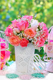 Wedding decoration with rose bouquet Stock Photo