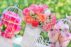 Wedding decoration with rose bouquet Stock Image