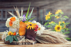 Wedding decoration in rustic style. Stock Photos