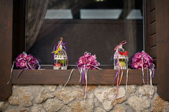 Wedding decoration sill. Stylysh purple wedding decoration sill Royalty Free Stock Photography