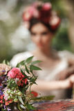 Wedding decoration in the style of boho, floral arrangement, decorated table in the garden. Royalty Free Stock Image