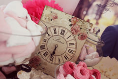 Wedding decoration table clock retro paris arrangement time stock photo