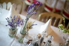 Wedding decoration table with lavender and greenery Royalty Free Stock Image