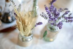 Wedding decoration table with lavender and greenery Stock Photo