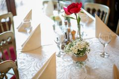 Wedding decoration table with rose Stock Photos