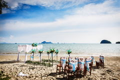 Wedding decoration in Thai. Decorations for wedding ceremony on the beach in Thailand Royalty Free Stock Photos