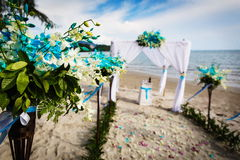Wedding decoration in Thai. Decorations for wedding ceremony on the beach in Thailand Stock Photography