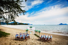 Wedding decoration in Thai. Decorations for wedding ceremony on the beach in Thailand Stock Images