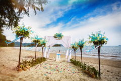 Wedding decoration in Thai. Decorations for wedding ceremony on the beach in Thailand Stock Photo