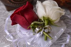 Wedding decoration. Wedding rings with white rose and red rose. Wedding Rings tied with white ribbon. White rose and red rose are symbol of the bride and groom Royalty Free Stock Photos