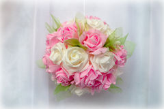 Wedding decoration in white and pink. On a white background Royalty Free Stock Photography