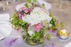Wedding decoration with white and pink hydrangea Royalty Free Stock Images