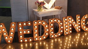 Wedding decoration. Wooden board with sign Wedding stock video
