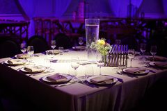 Wedding decorations in banquet hall royalty free stock photo