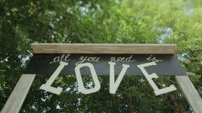 Wedding  details handmade wooden arch stock footage