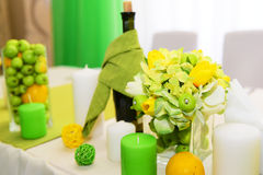 Wedding decorations.  Beautiful holiday table setting with apples. Stock Photos