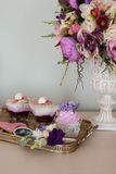 Wedding decorations. Bouquets of flowers and cake royalty free stock image
