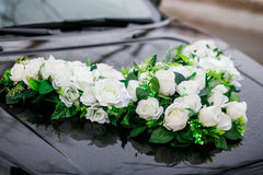 Wedding decorations for car flowers, white roses Royalty Free Stock Photography