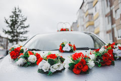Wedding decorations for car Royalty Free Stock Image