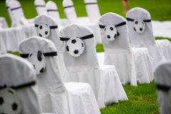 Wedding decorations. Wedding chair decorated football details Stock Image