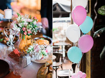 Wedding decorations collage with balloons, sweets and candles in restaurant Stock Image