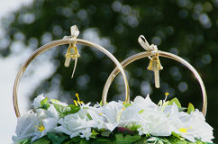 Wedding decorations, a couple of rings Stock Images