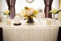 Wedding decorations . Flowers and coffee beans. Wedding decorations . Poor flowers and coffee beans Stock Photo