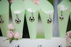 Wedding decorations. Football pendants decorated wedding site Stock Photos