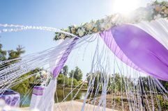 Wedding decorations in front of the sun. Wedding decorations bloated in the wind, opposite the sun Royalty Free Stock Images