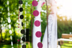 Wedding decorations garlands of paper Royalty Free Stock Photo