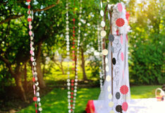 Wedding decorations garlands of paper sun day Stock Photo
