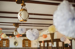 Wedding decorations hang on the roof Royalty Free Stock Images