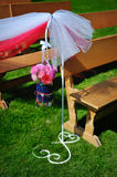 Wedding decorations outdoors on green grass Stock Photo