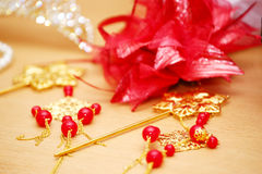 Wedding decorations red beads Royalty Free Stock Photos